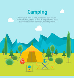 cartoon camping day view card poster vector image vector image