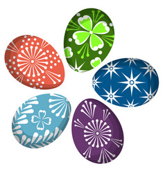 colorful easter egg set isolated on white vector image vector image