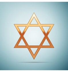 Gold Star of David icon on blue background vector image vector image