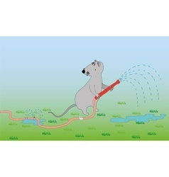 Mouse with a hose watering lawn vector