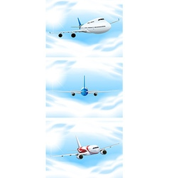 Scene with planes flying in the sky vector image vector image