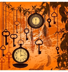 Autumn vintage background with clocks feathers and vector image vector image