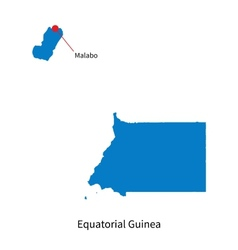 Detailed map of Equatorial Guinea and capital city vector image vector image