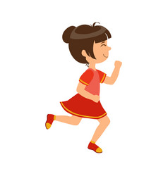 happy little girl running kid in a motion a vector image
