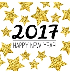 Happy New Year 2017 card with gold textured star vector image vector image