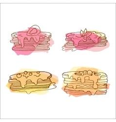 pancake Set of 4 hand drawn vector image
