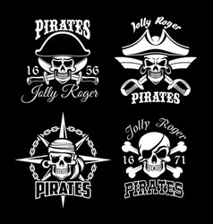 pirate skull and jolly roger flag icon set design vector image