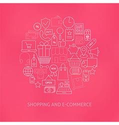 Thin line e-commerce business money icons set vector