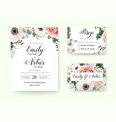 wedding invitation floral invite rsvp cute card vector image
