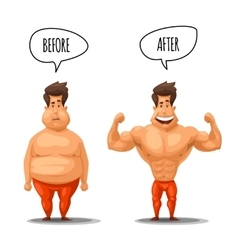Weight loss Man before and after diet vector image vector image