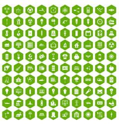 100 electricity icons hexagon green vector