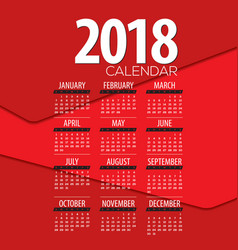 2018 red abstract graphic printable calendar vector