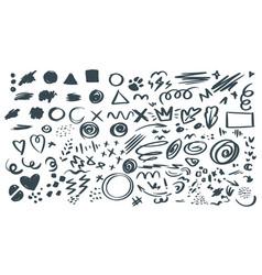 Abstract hand drawn symbols set vector