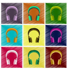 Assembly flat shading style icons headphones vector