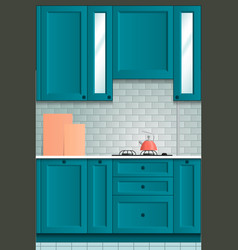 beautiful bright kitchen background kitchen set vector image