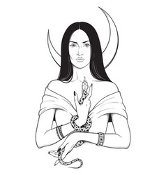 Beautiful brunette witch with serpent in her hands vector
