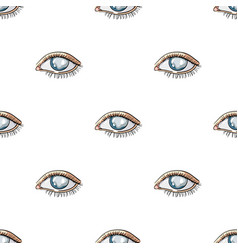 blue eyes of a man who suffers from diabetes vector image
