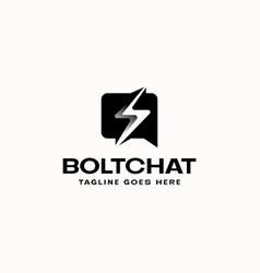 bubble chat bolt lightning logo template logo vector image