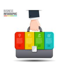 Businessman hand holding briefcase bag vector
