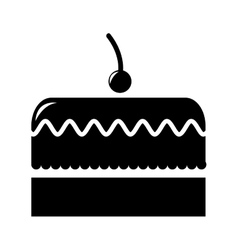 cake with cherry isolated icon design vector image