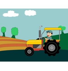 Cartoon farmer driving colorful tractor vector image
