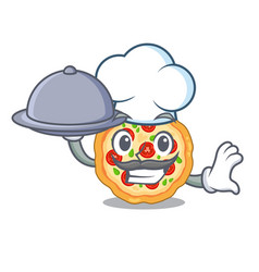 chef with food margherita pizza isolated with the vector image