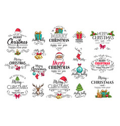 christmas decoration labels vector image