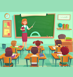 Classroom with kids teacher or professor teaches vector