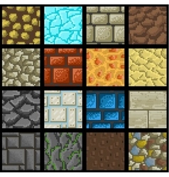 collection seamless pixel ground textures vector image