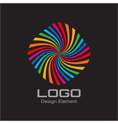 Colorful Bright Rainbow Spiral Logo on Black Backg vector image