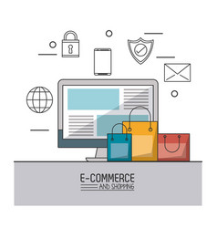 Colorful poster of e-commerce and shopping with vector