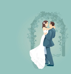 couples love with wedding gate vector image