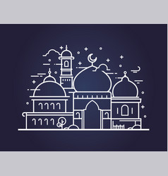 Creative of a mosque in line style vector
