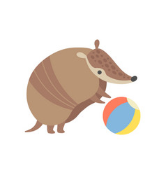 Cute armadillo playing with ball adorable vector