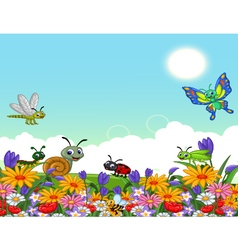 Cute collection of insects in the flower garden vector