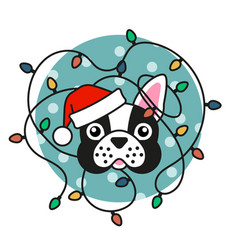 Cute pug dog in santa hat with christmas lights vector