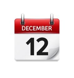December 12 flat daily calendar icon vector