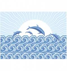 dolphins in the sea vector image