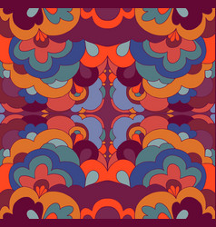 Doodle psychedelic vintage hippie colorful fractal vector