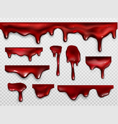 dripping blood red paint or ketchup vector image