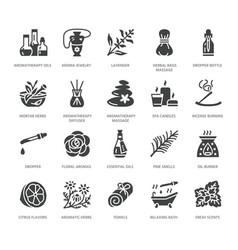 essential oils aromatherapy flat glyph vector image