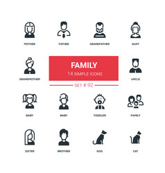 family - flat design style icons set vector image