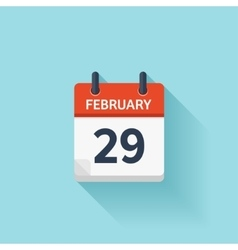 February 29 flat daily calendar icon Date vector