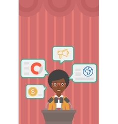 Female speaker on the podium vector