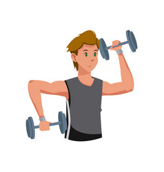 Fitness man with barbell workout vector