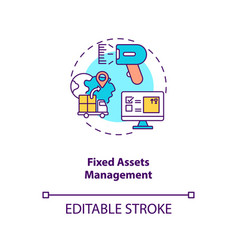 Fixed assets management concept icon vector