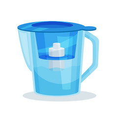 Flat icon of blue glass water pitcher with vector