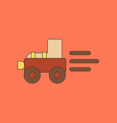 Flat icon on background kids toy tractor vector