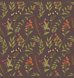 floral seamless pattern beautiful dark background vector image