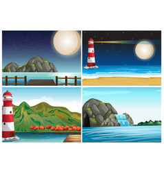 four scenes with lighthouse and ocean vector image